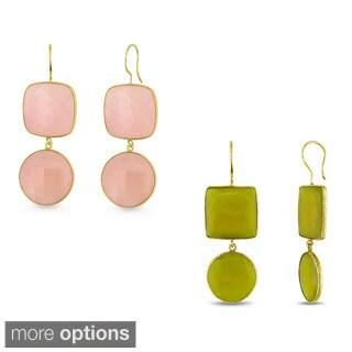 Miadora 22k Yellow Gold Plated Silver 82-96 CT TGW Gemstone Dangle Earrings