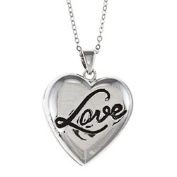 La Preciosa Sterling Silver Puffed Black Enamel 'Love' Locket