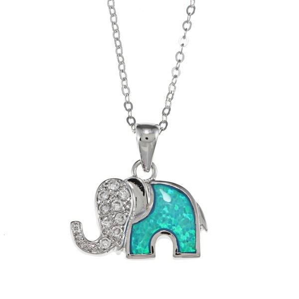 La Preciosa Sterling Silver Created Opal and CZ Elephant Necklace