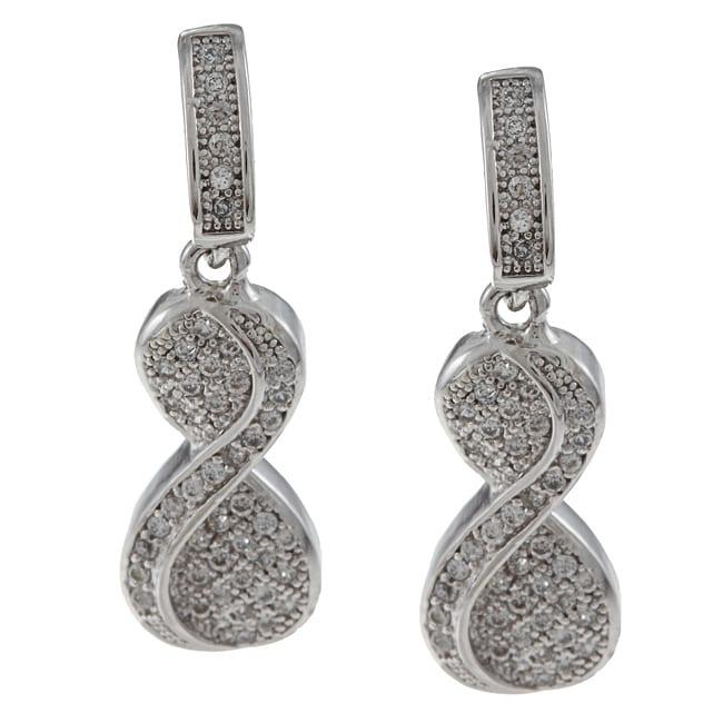 La Preciosa Sterling Silver Cubic Zirconia Twisted '8' Earrings