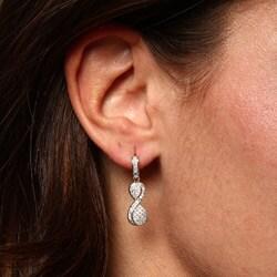 La Preciosa Sterling Silver Cubic Zirconia Twisted '8' Earrings - Thumbnail 2