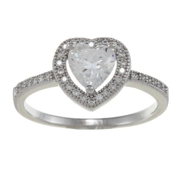La Preciosa Sterling Silver Heart-cut Cubic Zirconia Heart Ring