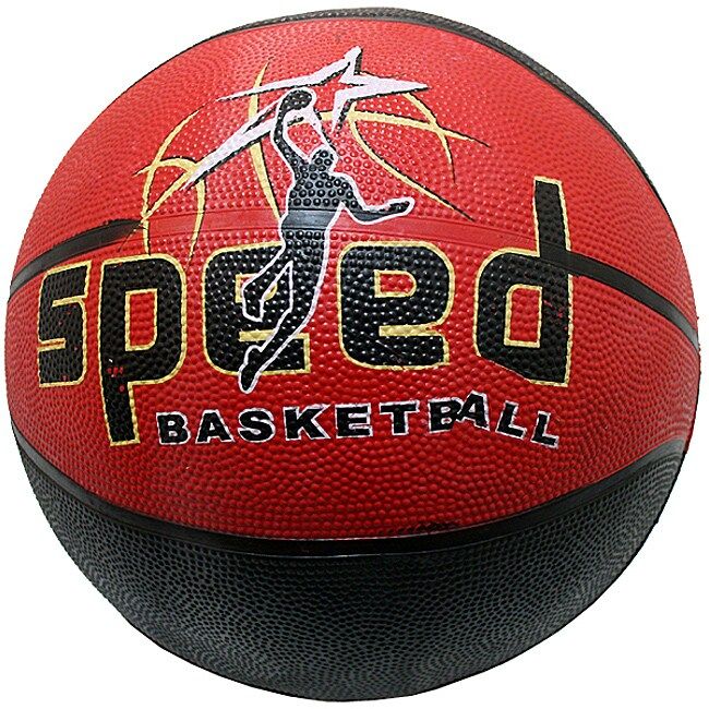 Size-seven Defender Black/Red Rubber Indoor/Outdoor Basketball