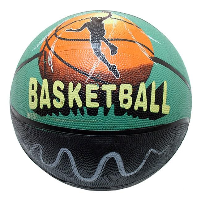 Defender Black/Green Indoor/Outdoor Rubber Basketball (Size Seven)
