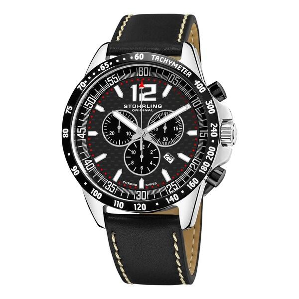 Stuhrling Original Men's Concorso Corale Quartz Chronograph Watch with Black Leather Strap