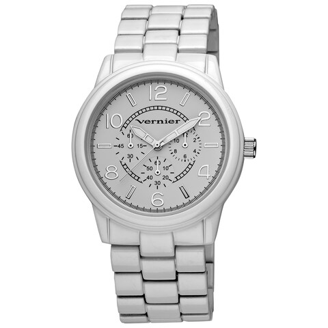 Vernier Women's Round White Crono Look Bracelet Watch