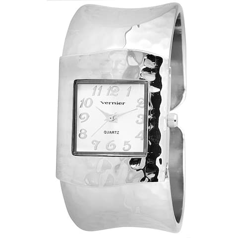 Vernier Women's Silver Tone Hammered Bangle Watch