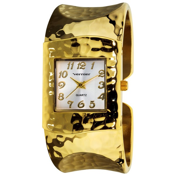 Vernier Women's Gold Tone Hammered Bangle Watch