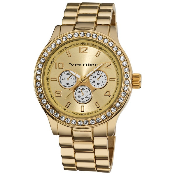Vernier Women's V11088 Gold Chrono Look Glitz Bracelet Quartz Watch