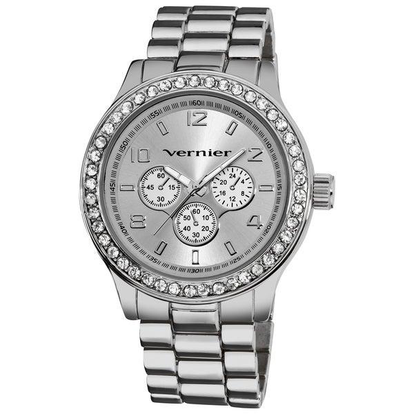 Vernier Women's Oversized Chrono Look Glitz Bracelet Quartz Watch
