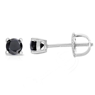 Finesque Sterling Silver 1/4 to 3/4ct TDW Black Diamond Stud Earrings (2 options available)