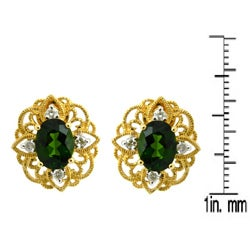 D'sire 10k Gold Chrome Diopside and 1/5ct TDW Diamond Earrings (H-I, VS1-VS2)