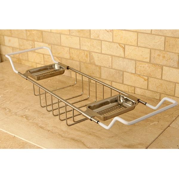 Shop Solid Brass Satin Nickel Clawfoot Tub Caddy Free Shipping