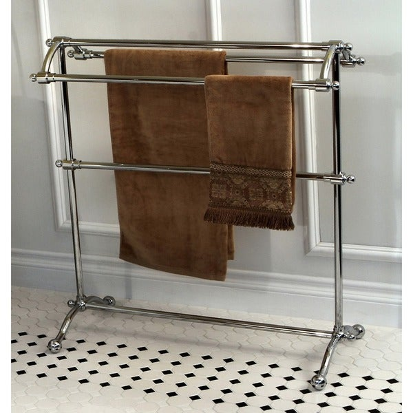 Shop Vintage Pedestal Chrome Finished Solid Brass Towel Stand Free Shipping Today Overstock