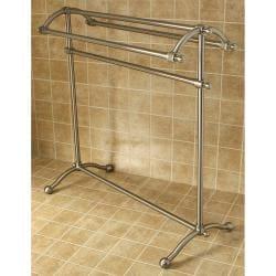Vintage Pedestal Satin-Nickel-Finished Solid-Brass Towel Stand