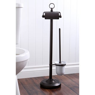 Solid Brass Oil Rubbed Bronze Toilet Paper with Brush Holder Pedestal