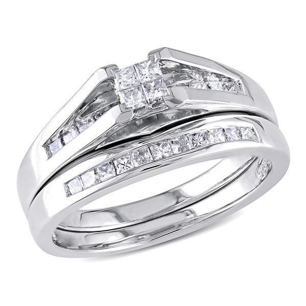 Miadora 10k White Gold 1/2 CT TW Princess-cut Quad Diamond Wedding Ring Set