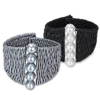 Catherine Catherine Malandrino Freshwater Pearl and Leather Cuff Bracelet (9-10 mm)
