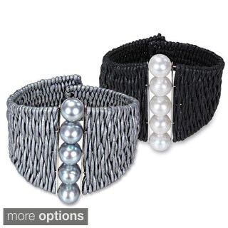 Miadora Freshwater Pearl and Leather Cuff Bracelet (9-10 mm)