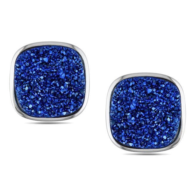 Miadora Highly Polished Sterling Silver Blue Cushion-cut Druzy Stud Earrings