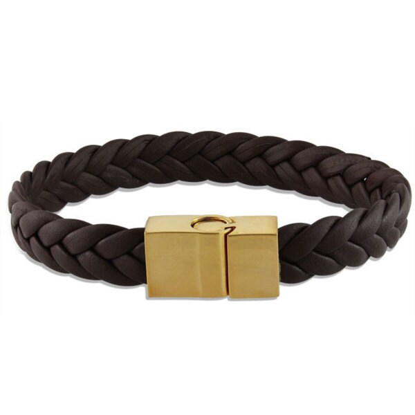 Miadora Yellow-plated Stainless Steel and Braided Leather Bracelet