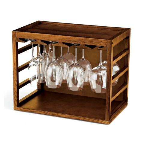 Wine Enthusiast Cube Stackable Hardwood Glass Rack