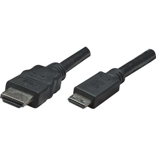 Manhattan High Speed HDMI Cable, Mini HDMI Male/HDMI Male, 6', Black