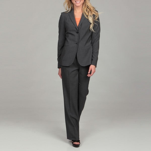 Calvin Klein Women's Charcoal Two-button Pant Suit - Free Shipping ...
