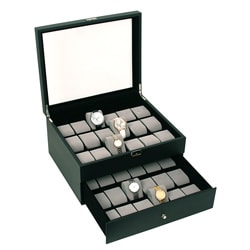 Caddy Bay Collection Classic Dual Layer 36-Watch Leatherette Watch Case - Thumbnail 0