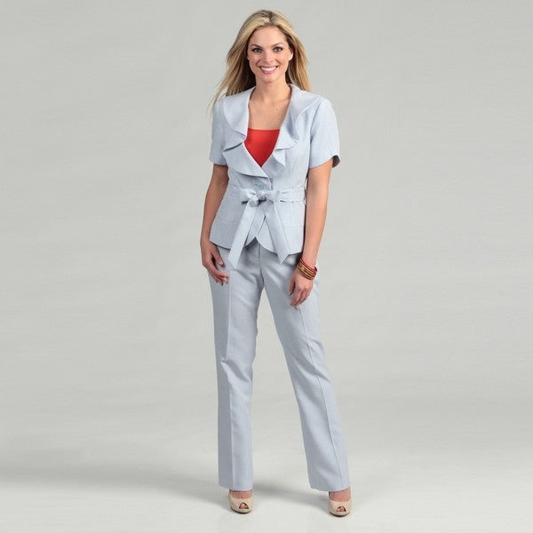 Emily Women's Cloud Combo Ruffled Pant Suit
