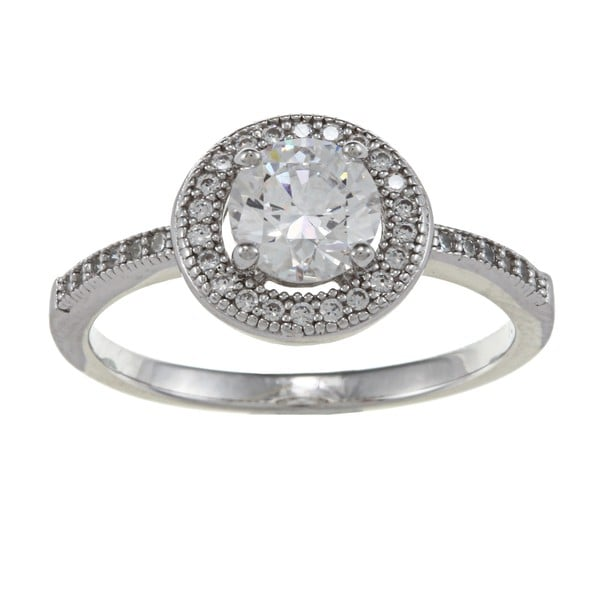 La Preciosa Sterling Silver Center Circle CZ and Micro Pave Ring