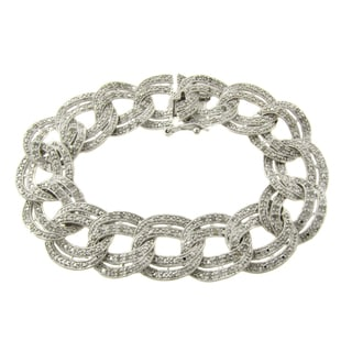 Finesque Sterling Silver 1ct TDW Diamond Link Bracelet