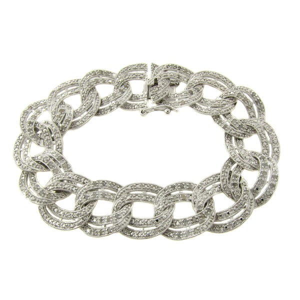 Finesque Sterling Silver 1ct TDW Diamond Link Bracelet (I-J, I2-I3)