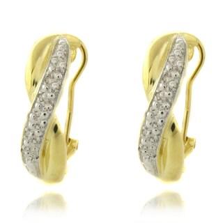 Finesque 14k Gold over Silver 1/4ct TDW Diamond 'X' Earrings (I-J, I2-I3)