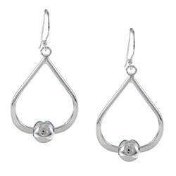 La Preciosa Sterling Silver Beaded Open Teardrop Earrings