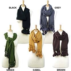 LA77 Women's Solid Color Knit Pom Pom Scarf