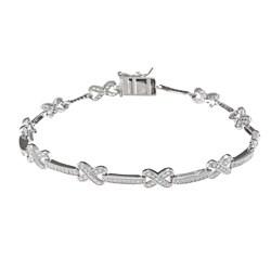 La Preciosa Sterling Silver Cubic Zirconia 'X' Link Bracelet