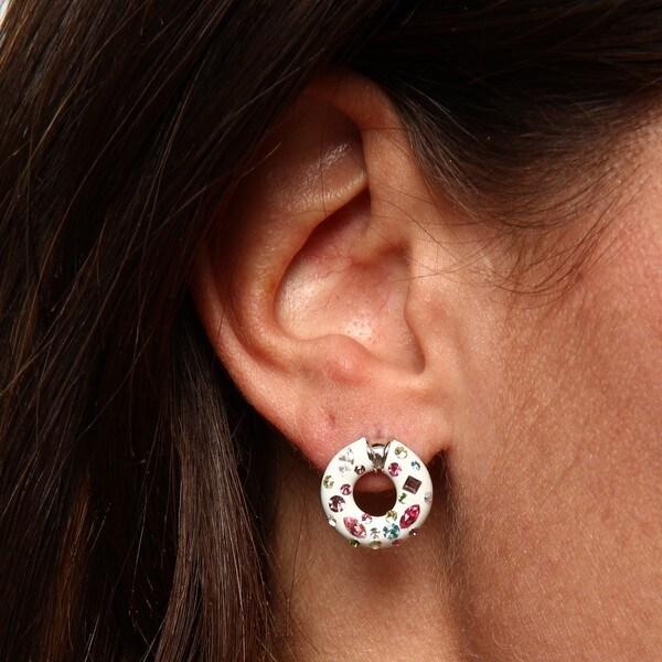 La Preciosa Sterling Silver Crystal Oval Earrings