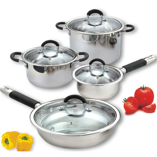 Cook N Home 8-pc Stainless Steel Encapsulated Bottom Cookware