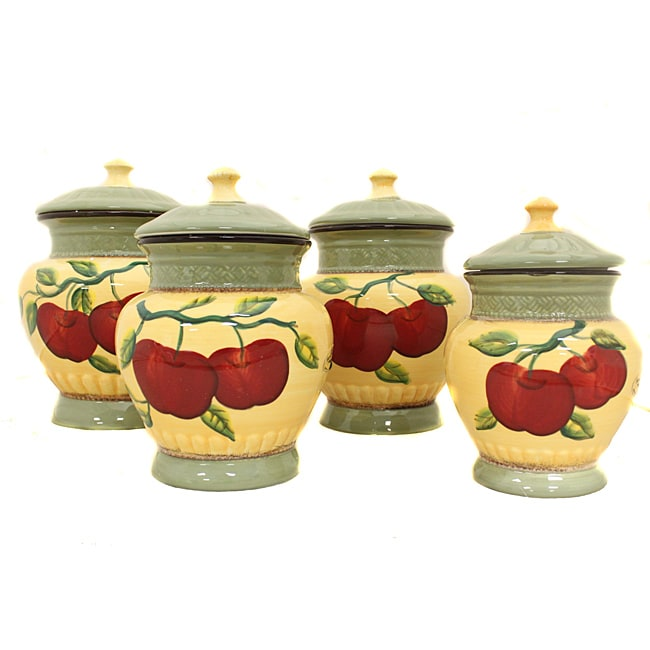 Casa cortes apple collection 4 piece hand painted canister for Apple kitchen decoration set