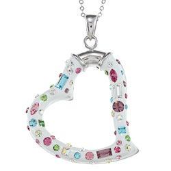 La Preciosa Sterling Silver Crystal Heart Necklace