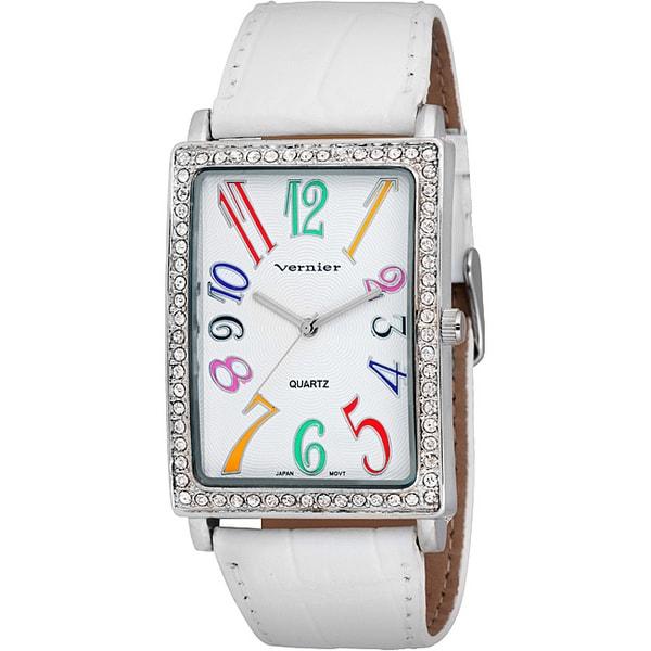 "Vernier Women's ""V1032' Colorful Numerals White Watch"