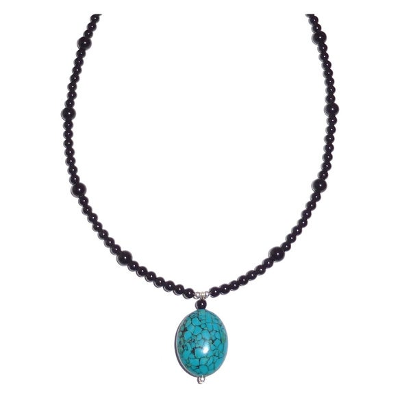 Every Morning Design Turquoise Drop With Obsidian Beaded Necklace