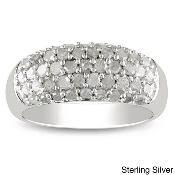 Miadora Sterling Silver or Black Rhodium 1ct TDW White Diamond Ring