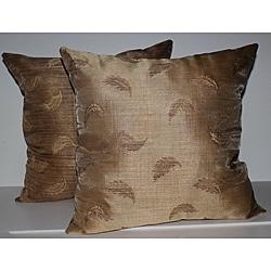 RLF Home Wispy Leaf Gold Decorative Pillows (Set of 2)