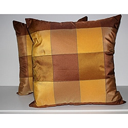 RLF Home Pascal Check Topaz Decorative Pillows (Set of 2)
