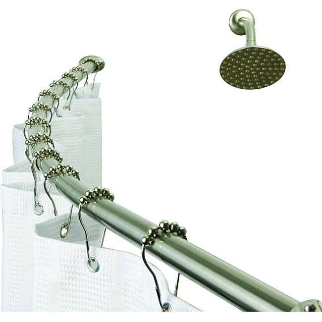 Satin Nickel Hotel Space Plus Curved Shower Rod - 14084626 - Overstock ...