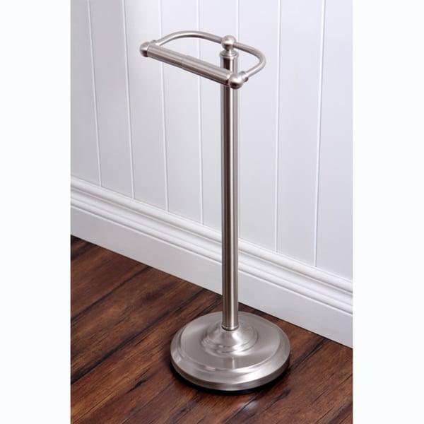 Satin Nickel Standing Pedestal Toilet Paper Holder