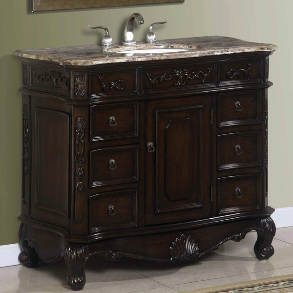 ICA Furniture Madison Brown Cherry and Porcelain Bathroom Vanity