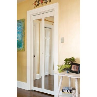 907 Traditional 24 Inch Wide Unfinished Natural Pine Bifold Mirror Doors